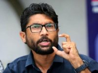 Gujarat Rashtriya Dalit Adhikar Manch leader Jignesh Mevani addressing a press conference in New Delhi on wednesday. Express photo by Renuka Puri